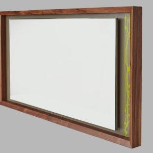beveledge wooden mirror